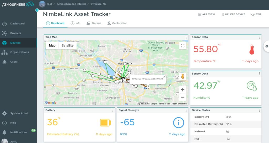 Atmosphere IoT Dashboard viewing a NimbeLink Asset Tracker sensor data